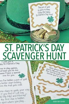Patricks Day Scavenger Hunt for Kids, Pot of Gold Scavenger Hunt, St. Patrick's Day Activity for Patrick's Day scavenger hunt St. Patricks Day Scavenger Hunt for Kids, Pot of Gold Scavenger H St Patricks Day Crafts For Kids, St Patrick's Day Crafts, March Crafts, Daycare Crafts, Kid Crafts, Holiday Activities, Activities For Kids, Elderly Activities, Senior Activities