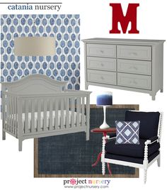 Bold, Modern Nursery Design Board featuring the Catania Crib and Dresser
