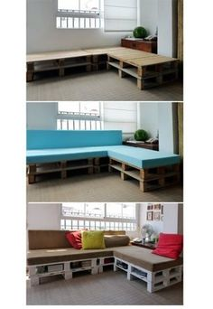 DIY Furniture - couch out of wooden pallets. ♥Repin and follow♥