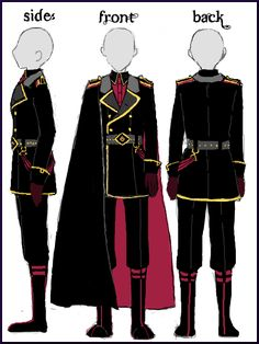 Cape would be a midnight blue, outfit white instead of black Anime Outfits, Fashion Outfits, Fashion Tips, Uniform Design, Drawing Clothes, Character Outfits, Military Fashion, Fashion Sketches, Costume Design
