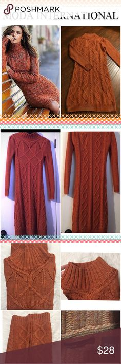 Moda International Sweater Dress Burned orange color super warm and cozy sweater dress from Victoria's Secret. Great condition with almost no sign of wear. Size medium. Mock neck cable knit dress. Moda International Dresses Long Sleeve