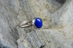 Small Lapis Ring Handmade Lapis Ring Minimal Silver by LouiseLeder