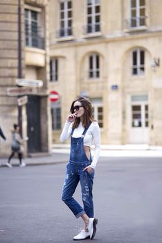 overalls + crop top...  HATE the shoes