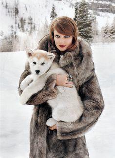 model Eniko Mihalik in Harper's Bazaar (Winter Wonderland editorial)