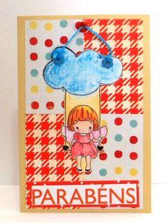 Cartão Nuvem / Barquinho de Papel Scrap