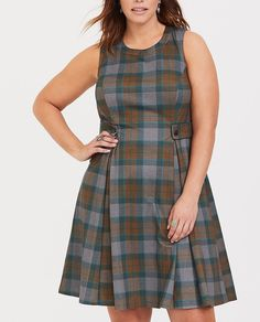 edbcee9949 3X OUTLANDER Torrid Plaid Mackenzie Plaid Skater Dress! Womens Plus Size # Torrid