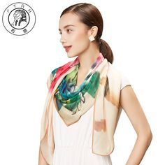 >> Click to Buy << PTAH Oversized Square Chinese Style Pattern Print Floral Pure Silk Scarf For Women Luxury Brand Muffler Shawl Soft Bufandas 291 #Affiliate