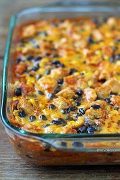 Layered Chicken Enchilada Bake | Emily Bites | Bloglovin'