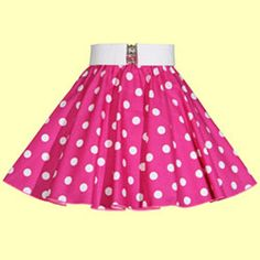 Childs Cerise Pink with White Polkadot Full Circle Skirt