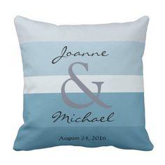 Modern blue gray shades monogram Wedding keepsake Throw Pillow