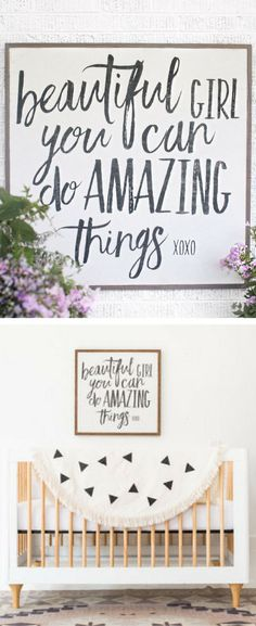 Such a great quote for a little girl's room or a baby girl nursery! Beautiful girl you can do amazing things! Baby Girl nursery decor, farmhouse Home decor, Girl wall art, Rustic Nursery decor, inspirational gift idea #ad