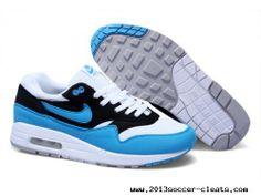 Mens Nike Air Max 1 White Black Blue Glow Sneakers Buy?For Sale