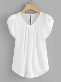 Casual Plain Top Regular Fit Round Neck Cap Sleeve White Regular Length Petal Sleeve Pleated Detail Curved Hem Blouse