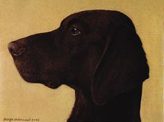 """Leon"" - Renaissance-style profile of German short-haired pointer, pet dog of English artist George Underwood, b.1947"