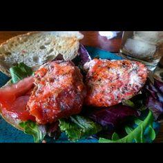 #grilledsalmon sandwich using #gmofree veggies outta my backyard & #homemadebread
