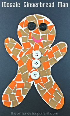 Construction paper mosaic gingerbread man. Winter and Christmas arts and crafts projects for kids and preschoolers.