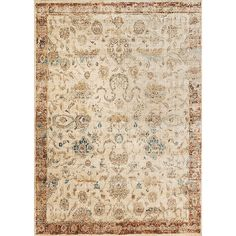 Traditional Antique Ivory/Rust Floral Distressed Rug - X Ivory Oriental Vintage Rectangle Polyester Polypropylene Latex Free Stain Resistant Home Rugs, Traditional Rugs, Latex Free, Rug Making, Colorful Rugs, Area Rugs, Antiques, Floral, Anastasia