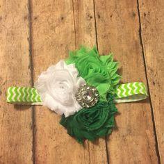 green white Christmas elastic for shabby flower headband baby girl shabby rhinestone hair bow