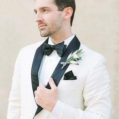 Speaking of dapper grooms! I loved that Nick's olive branch boutonnière was the perfect ode to the beautiful Tuscany rolling hills around us. Groom in white suit trimmed in black with black bow tie and pocket square. Groomsmen Outfits, Groom And Groomsmen, Black Bow Tie, White Suits, Groom Wear, Tie And Pocket Square, Goldendoodle, Tuscany, Dapper