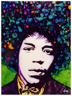 "Bold as Love - Jimi Hendrix mixed media (mostly alcohol inks) on 20""x20"" Yupo by Monica Moody"