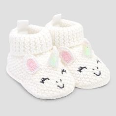 Baby Girls' Bootie Slippers - Just One You made by carter's Pink/White Newborn