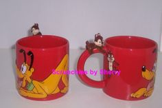 Disney Store Mug Pluto Chip & Dale 25th Anniversary Figurine Handle Coffee New - Mugs, Glasses