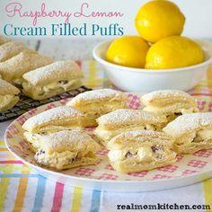 Raspberry Lemon Cream Filled Puffs | realmomkitchen.com
