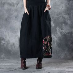 Classical Rose Prints Flare Maxi Skirt Quilted Cotton Linen Black Skirt    #flare #skirt #quilted #cotton #black #rose #prints #fashion #woman
