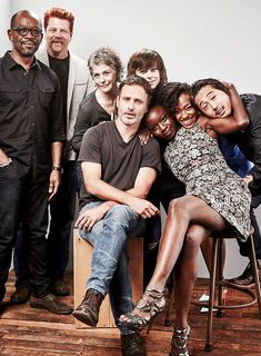 Lennie James, Michael Cudlitz, Melissa McBride, Andrew Lincoln, Chandler Riggs, Danai Gurira, Sonequa Martin-Green, and Steven Yeun of 'The Walking Dead' pose for a portrait at the Getty Images Portrait Studio Powered By Samsung Galaxy At Comic-Con International 2015 at Hard Rock Hotel San Diego on July 11, 2015 in San Diego, California.