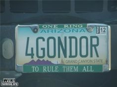 LOTR license plate to rule all license plates. Gandalf, Legolas, Fellowship Of The Ring, Lord Of The Rings, Lotr, Johnlock, Destiel, Epic Fail Photos, One Does Not Simply