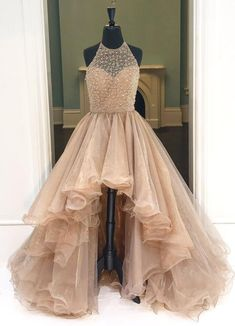 Beading High-Low Prom Dresses,Ball Gown Prom Dresses,Princess Prom Dresses,Long Evening Dress, Formal Women Dress,prom dress