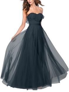 DescriptionWatters AngelieFull length bridesmaid dressSweetheart strapless neckline with tulle ruffle on the bustSelf tie sash at the waistBobbinet TulleDesigner Navy Blue Bridesmaid Dresses, Always A Bridesmaid, Wedding Bridesmaids, Strapless Dress Formal, Prom Dresses, Formal Dresses, Handmade Dresses, Bridal Style, Bridal Gowns