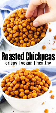 These roasted chickpeas make the perfect vegan snack or vegan party food! They're perfectly seasoned, a bit spicy, and super easy to prepare. One of my favorite vegan recipes for snacking! #vegan #veganrecipes #partyfood Whole Food Recipes, Cooking Recipes, Recipes Dinner, Cooking Tips, Recipes For One, Cheap Recipes, Cooking Bacon, Fun Recipes, Cooking Classes