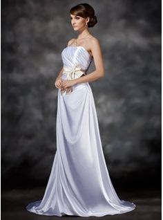 A-Line/Princess Strapless Sweep Train Charmeuse Wedding Dresses With Ruffle Lace Sashes Beadwork (002021292)
