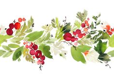 Seamless watercolor Christmas pattern with berries and spruce royalty-free seamless watercolor christmas pattern with berries and spruce stock vector art & more images of abstract Watercolor Christmas Tree, Christmas Drawing, Wreath Watercolor, Christmas Paintings, Easy Watercolor, Watercolor Pattern, Watercolor Cards, Christmas Art, Watercolor Illustration