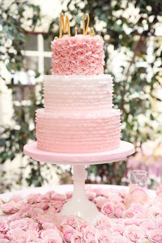 The prettiest pink ombre ruffled cake by Cake Crumbs - beautiful photo by @Melody Melikian Photography
