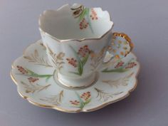 OCCUPIED JAPAN YAMAKA CHINA TEA CUP AND SAUCER SET FLORAL GOLD TRIM | eBay