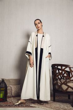 This exclusive Abaya is light weight and easy to style with a long plain dress or trousers and a t-shirt for a trendier look this Ramadan. Abaya Fashion, Muslim Fashion, Modest Fashion, Fashion Dresses, Kimono Fashion, Abaya Mode, Mode Hijab, Abaya Designs, Estilo Abaya