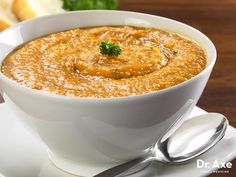 This Roasted Garlic & Sweet Potato Soup is a great addition to any meal. It's not only tasty but also healing to your gut! Try it today!