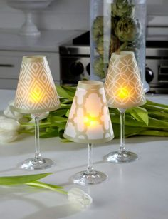 Check out the deal on Set of 6 Barcelona Design Translucent Wine Glass Shades - Green at Battery Operated Candles