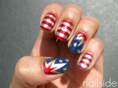 4th of July Nails from nailside.blogspot.com- she used four different polishes: a red from Etos, China Glaze's 2030 as her gold, First Mate as the blue base color and for the stripes she used China Glaze Millenium. To make the firework shapes she used the same technique as the one from her zigzag pattern tutorial. Stars were made using a stamping plate from Essence.