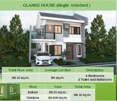 Single Attached Two Storey House Design - House And Decors Two Story House Plans, Modern House Plans, Two Storey House, Storey Homes, Bathroom Flooring, Indoor, House Design, Mansions, Bedroom