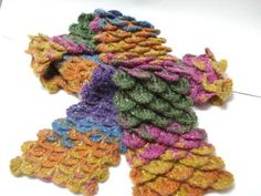 Crocodile Stitch Crocheted Scarf, Neckwarmer, Multicolor