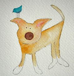Little Yeller - Yellow dog with white paws, small original watercolor… Watercolor Sketch, Watercolor Cards, Watercolor Paintings, Simple Watercolor, Watercolor Journal, Cartoon Dog, Cartoon Drawings, Cute Dog Drawing, Watercolor Animals