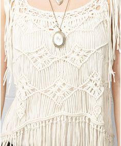 Denim & Supply Ralph Lauren Sleeveless Macrame Fringe Top in White ...
