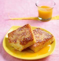 Grießbrei in Knusperpanierung backen und mit Pfirsichsauce servieren. So schmeckt Glück!