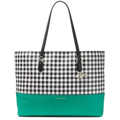 DIANE VON FURSTENBERG Voyage Gingham Colorblock Leather Large Tote ($159) ❤ liked on Polyvore