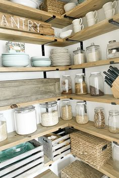 4 Months With Our Walk In Farmhouse Butlers Pantry – How We Are Liking It & Tips On Pantry Organization - kitchen pantry Free Standing Kitchen Pantry, Corner Kitchen Pantry, Kitchen Renovation, Small Kitchen Organization, Kitchen Space, Kitchen Pantry Design, Diy Kitchen Island, Kitchen Pantry Cabinets, Small Kitchen Pantry