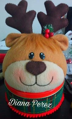 Christmas Crafts, Christmas Decorations, Christmas Ornaments, Holiday Decor, Teddy Bear, Gifts, Animals, Reindeer, Decorated Jars