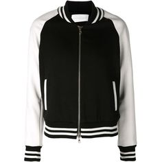 Veronica Beard bomber jacket ($890) ❤ liked on Polyvore featuring outerwear, jackets, black, blouson jacket, long jacket, veronica beard, bomber jacket and real leather jackets